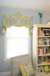 Window Works Studio valance mounted on wood medallions