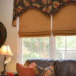 Window Works Studio shaped cornices and cordless roman shades window treatments