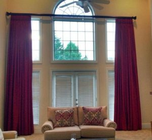 French Doors with Sidelights, blinds, and draperies